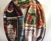 Classic Childrens Stories Book scarf, Literary gift UK, By  Rooby Lane
