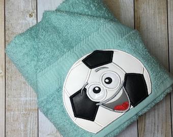 """Soccer Ball Boy Hooded Bath Towel 27"""" x 52"""""""