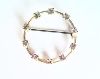 Circle Pin Lavender Rhinestones Gold Tone Setting Vintage Pin Brooch Jewelry Jewellery Accessory Gift Guide Lapel Scatter Brooch Pin