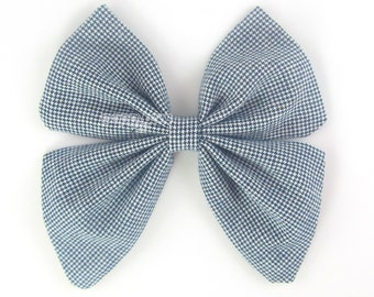 """5"""" Sailor Bow, Navy and White Tiny Checkered Print, sailor hair bow, big hair bow, girls hair bow, cotton bows, large hair bow, fabric bow"""
