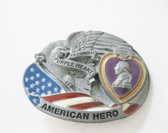 US Army Purple Heart Belt Buckle. American Hero. US Combat. Military, American Eagle, Red, White and Blue. Free shipping -FL