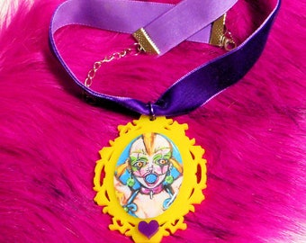 CASPERBLAISE X BONESCOUTURE: cbxbc Adjustable Purple Velvet Choker Necklace with Neon Pendant