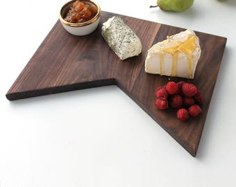 Black Walnut Serving Board With Bowl Modern Shape No. 29