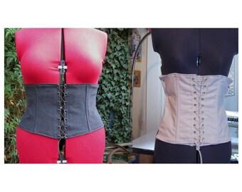 plain black or white denim underbust corset  waspie waist cincher. made to order. customisable