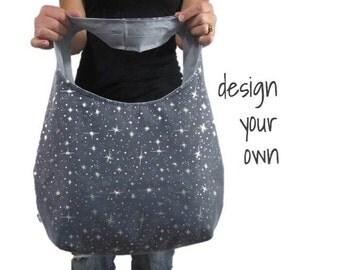 Over the shoulder hobo bag. Large purse. Design your own boho bag. indigo, gray, black, spa blue. Chevron, paisley, tribal,and linen blends