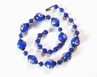 Vintage 1950s Blue Murano Glass Necklace Blue and Aventurine Sommerso Lampwork Beads, Blue w/ Red White & Blue Round Paperweight Beads Italy