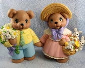 RESERVED FOR CARY Adorable ceramic Easter Bears dress in their Sunday best with a basket of little white rabbits and a white daisies
