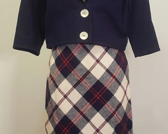 Vintage 1950s 1959 Two Piece Set Suit. Nautical Middy Jacket. Straight Skirt xs s