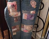 CUSTOM ORDER for DAWN, Patchwork jeans, patched denim, boho trendy denim, one of a kind