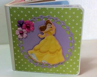 Disney premade pages chipboard scrapbook mini album  Belle beauty amd the beast princess birthday