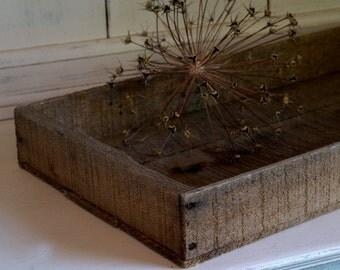 Vintage Rough Wood Rectangular Tray