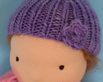 Knit Hat for 16-inch Waldorf Doll  **Periwinkle**