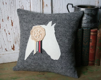 Horse Pillow Cover - Recycled Wool, Gray Tweed, Vintage Lace 14 Inch