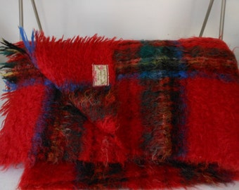 Vintage ROYAL STEWART  Mohair Throw Scotland Made by Andrew Stewart Mid Century FINE