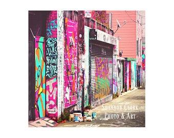 "San Francisco Photography. Girly Wall Art. ""Paint It Pink"". City. Graffiti. Neon. Colorful Photography. Teenage Girl Room Decor. Mint."