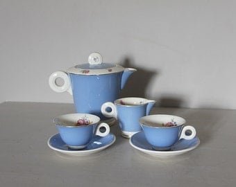 Shabby Chic French Antique Coffee Set,  Blue  Transferware, Art Deco Style.