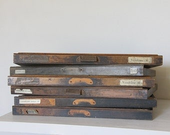 Antique French Letter Press Printer's Tray.  Letterpress drawer, Wooden Printers Tray.  Large, Industrial Loft Decor.