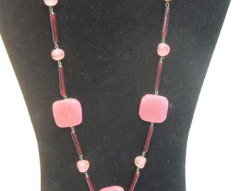 Red and Pink Art Glass Necklace