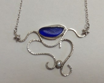 Surf Tumbled Royal Blue Sea glass Necklace