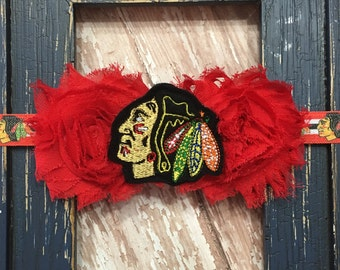 Chicago Hockey Double Shabby Flower Black Red Headband Babies, Toddlers, Girls, Women