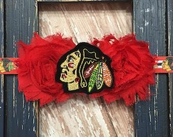 Chicago Hockey Double Shabby Flower Black Red Headband Babies, Toddlers, Girls, Women