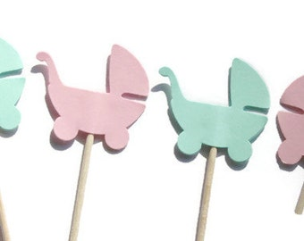24 Pink and Mint Green Baby Carriage Party Picks, Food Picks, Cupcake Toppers