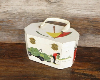 Hand Painted Wooden Box Purse Vintage Golf Motif Design Purse Lucite Handle 1960's Retro Golf Scene Accessories Purse