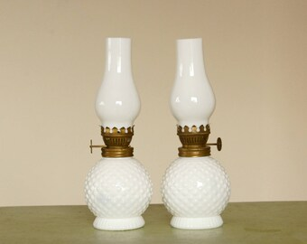 Vintage Hobnail Lamps, Miniature Oil Lamps, Hobnail Milk Glass, Milk Glass Chimneys, Hurricane Lamp Pair