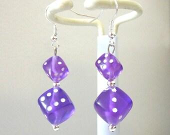 Bunko Purple Dice Earrings