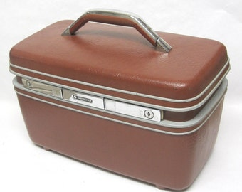 Samsonite Silhouette Brown Train Case Carry on Travel Suitcase Luggage