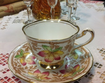 Canadian Maple Leaf Tea Cup and Saucer~Royal Chelsea~ English Bone China~Made in England