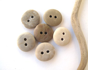 Stone Buttons Mediterranean River Rock Pebble Natural Stone Organic Diy Knitting Sewing Craft Supplies Elliptical 6 EARTHY BUTTONS 18-19 mm