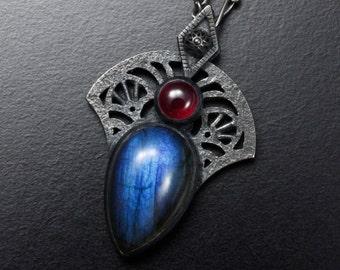 Blue labradorite pendant, ruby oxidized silver goth pendant necklace