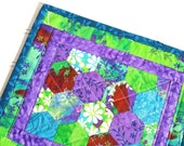 Colorful Mug Rug, Hexagons, Hand stitched, Green Purple Blue Red, Flowers and Vines
