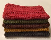 5 large dish cloths/ dish rags/ wash cloths made of 100% cotton yarn in Beautiful Autumn Colors