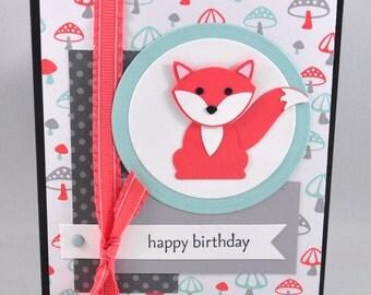 Birthday Greeting Card, Happy Birthday, Birthday Wishes, Fox, Aqua, Blue, Grey, Coral, Orange, Forest, Mushrooms, Kids Birthday