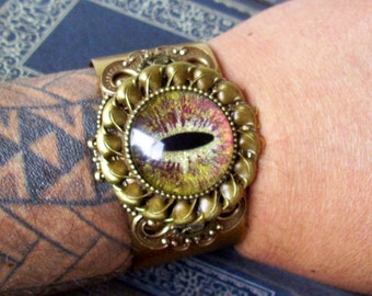 Large Dragon Eye Cuff (C707) Bronze Gold Sparkle, Hand Painted, Glass Eye, Brass Bangle, Bracelet