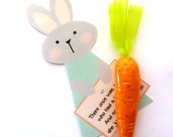 Ceramic Carrot Ornament Card Set / Easter Bunny USA Handmade Pottery Baby Shower Favor / Hostess Gift Housewarming / Spring Decor, Vegetable
