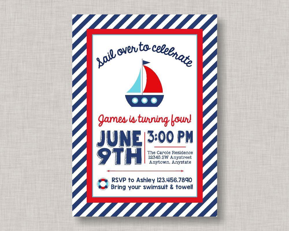 Nautical Birthday Invitation, Nautical Birthday Party, Nautical ...