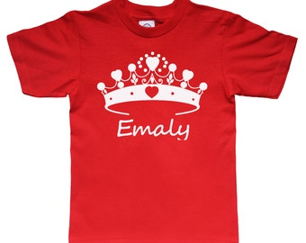 Valentine Personalized Tiara Princess Crown Heart Shirt for Kids - Valentine Gift Idea - Any Name - Choose your colors!