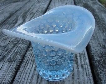 Vintage Blue Opalescent Hobnail Glass Vase