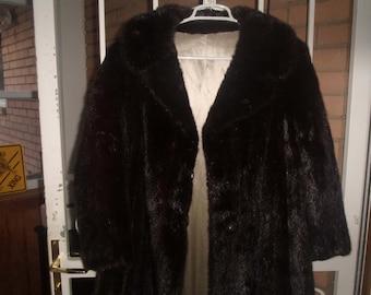 vintage genuine mink fur full length coat swing bottom dark satin lined pockets med to large