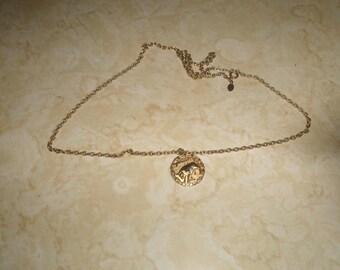 vintage necklace goldtone taurus bull zodiac astrology