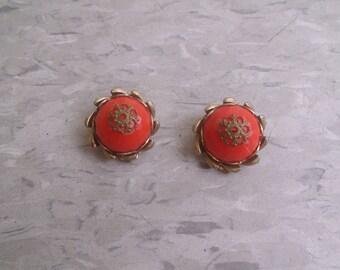 vintage clip on earrings goldtone orange lucite