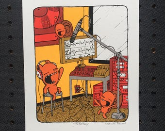 the harmony singing print, kid's room art, nursery print, singing screen print, music print, bear print