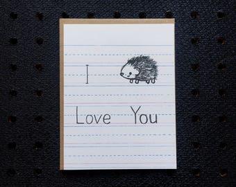 i love you hedgehog kids notebook paper screen printed greeting card, stationery for kids, hedgehog card, love card