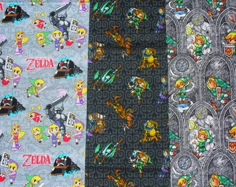 Nintendo Legend of Zelda, Nintendo Legend of Zelda, Zelda Fabric, 3 Fat Quarters,  Sword Power, cotton fabric