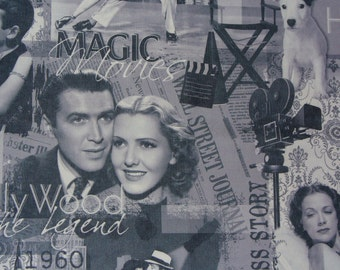 Movie Stars Fabric, Jimmy Stewart, Fred Astaire,  Hollywood Movies, Collage Style, Polyester Upholstery Fabric, By the Half Yard