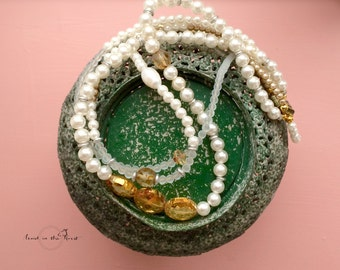 Romantic gift for her: 1920s crystals bridal jewelry. Handcrafted rustic faux pearl necklace in ivory, caffe latte, gold and pale blue.