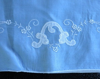 Vintage Blue Batiste Pillow Slip White Applique Embroidery 10 by 15 Inches 391b